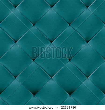 turquoise genuine leather upholstery background. Luxury pattern.