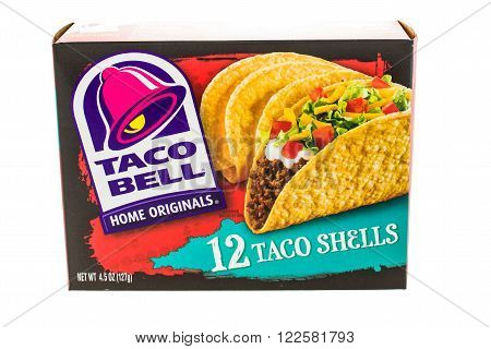 Winneconne WI - 5 February 2015: Box of Taco Bell hard taco shells of 12