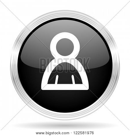 person black metallic modern web design glossy circle icon