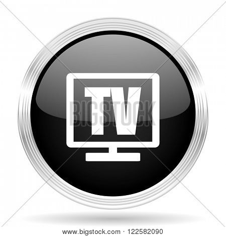 tv black metallic modern web design glossy circle icon