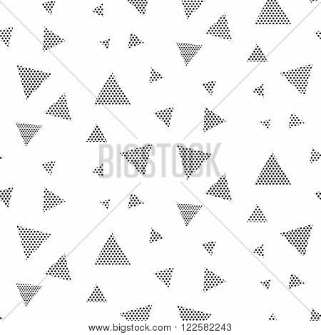 Triangle dotted geometric seamless vector pattern. Black and white trigon geometry shapes pattern.