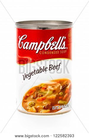 Winneconne WI - 8 February 2015: Can of Campbell's Vegetable Beef condensed soup
