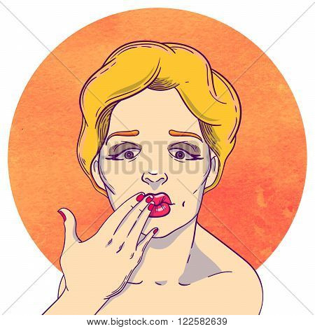 Portrait of a young blond girl sending a kiss. Hand in the mouth.