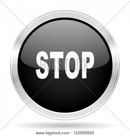 stop black metallic modern web design glossy circle icon