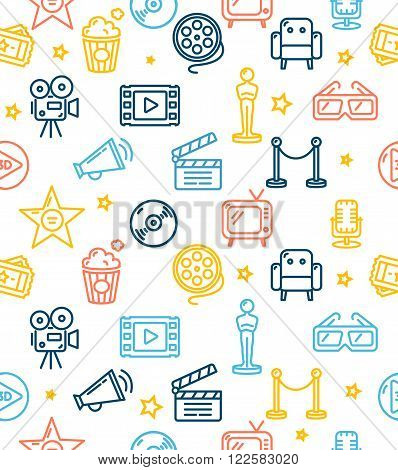 Cinema Background Pattern Colorful Outline Icon. Vector illustration