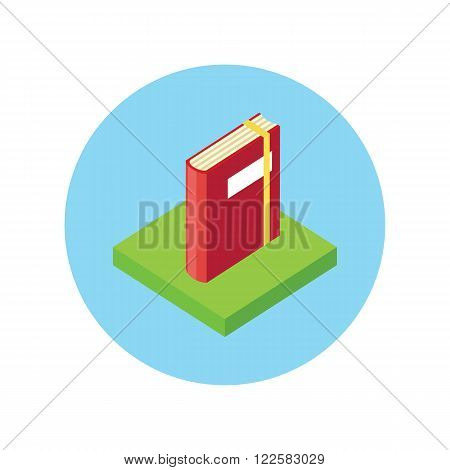 Isometric book logo icon flat style design. 3d book logo. New book cover, modern book, novel and book store, library and spine, paper and information, literature education vector illustration