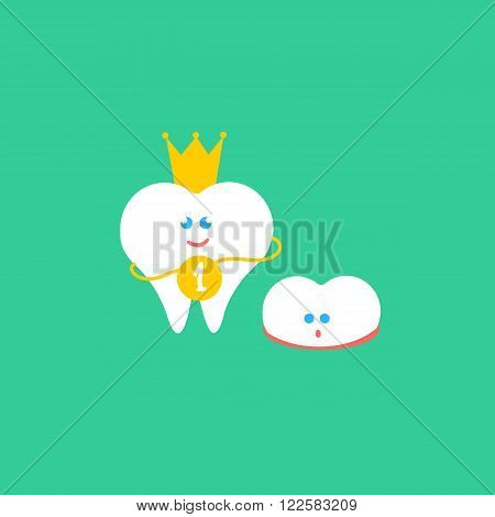 Dental cartoon vector flat illustration. Kids teeth grow. Child tooth. First tooth with crown and medal and small growth milk tooth characters. Cute children dental health banner, card. Smile teeth couple.