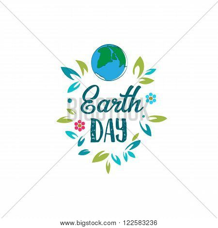 Creative World Environment Day Greeting stock vector. Earth Day logo. April holiday illustration with cartoon earth planet, leaves and flowers, and typography tag. Save green earth sign. Eco friendly day label