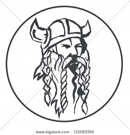head of the viking Hand drawn vector illustration of viking