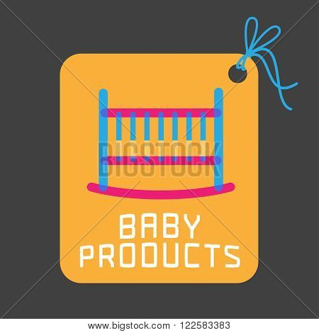 Baby products vector logo. Emblem with cute cot for a shop company or product. Design element for advertising materials