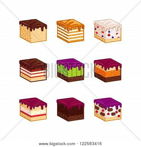 Flat design cake piese icons. Cartoon cake flavour vector illustration. Cake slice isolated set. Birthday cake order infogaphics.  Pieces of cake. Chocolate, berries, tiramisu, meringue, honey cake, sour cream, diet pie slices