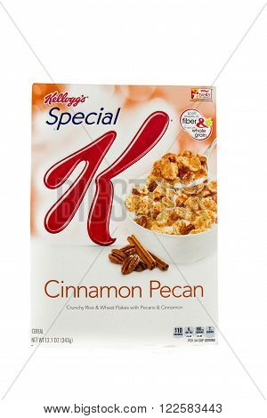 Winneconne WI - 5 February 2015: Box of Kellogg's Special K Cinnamon Pecan cereal. Marketed as a low fat cereal.