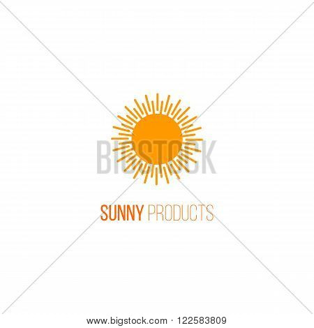 Vector logo with abstract sun icon. Organic and fresh natural product logo. Sunny food for family. Farm healthy food icon for farm products design. Bio packaging modern flat element. Floral organic food icon.