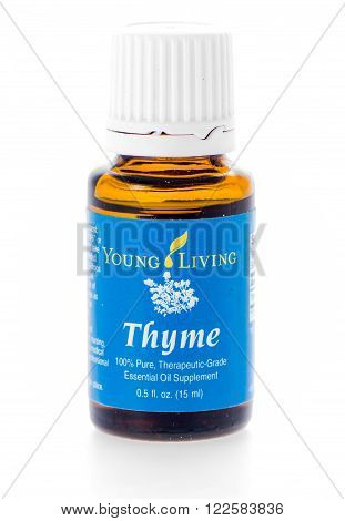 Winneconne, WI - 10 Feb 2016: Bottle of Young Living thyme essential oil.