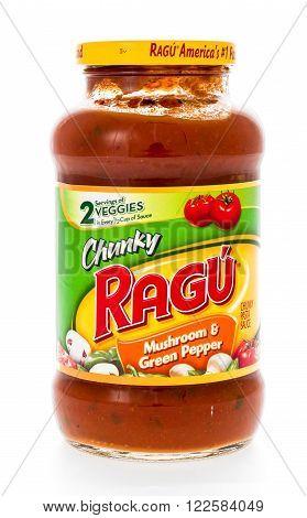 winneconne WI - 7 February 2015: Jar of Ragu Mushroon & Green Pepper flavored pasta sauce.