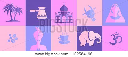 set of different icons on the theme of Indian culture.