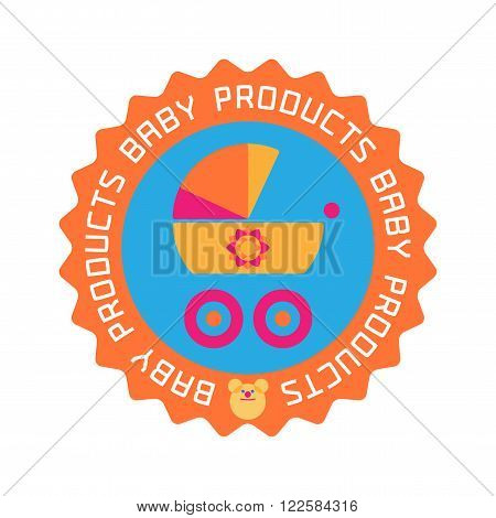 Vector baby shop logo. Baby store company or products stamp emblem. Stroller image
