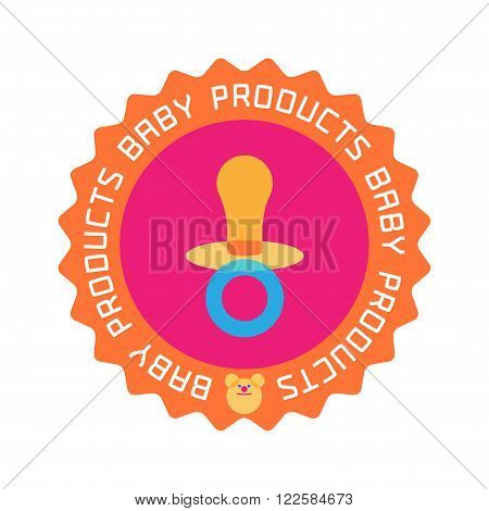 Vector baby shop logo. Baby store retail company or products stamp emblem. Soother image