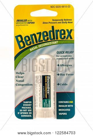 Winneconne WI -1 Oct 2015: Package of Benzedrex nasal decongestant