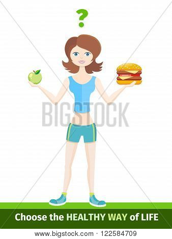 Sport diet healthy way of life. Healthy life, sport diet, fitness lifestyle, food and health, activity sport diet, nutrition dieting, eating and healthcare, natural vitamin sport diet illustration