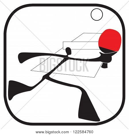 shadow man ping pong or table tennis game cartoon acting symbol and logo graphic design shadow man theme.