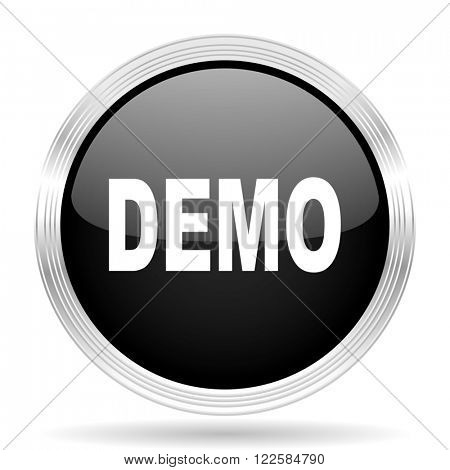 demo black metallic modern web design glossy circle icon
