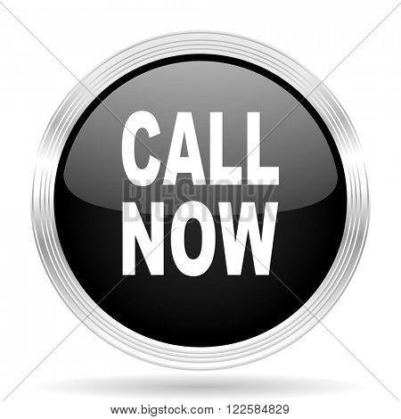 call now black metallic modern web design glossy circle icon