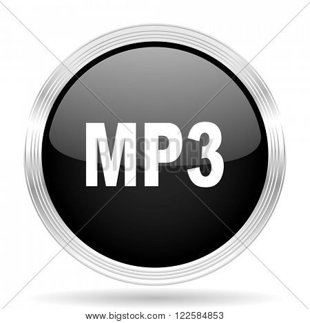 mp3 black metallic modern web design glossy circle icon