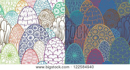 Stylized seamless pattern with contour trees and bushes. Vector botanical background. 2 color variants. Asian theme