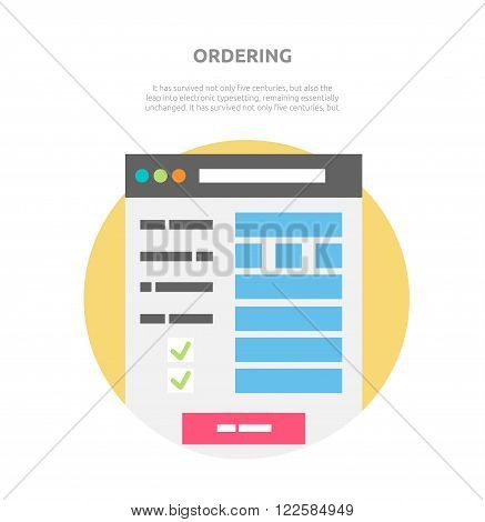 Ordering website element design. Order option, choice ordering information, info site webdesign interface ordering checklist, webpage vector illustration