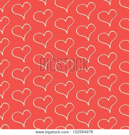 Lovely trendy vintage seamless vector pattern with creative hand drawn hearts for fabric, cards, invitations, wrapping paper, stationery and web backgrounds. Retro style whimsical cute love ornament.