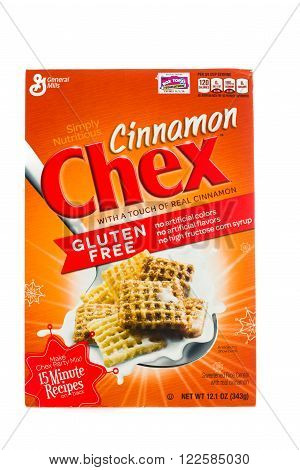 Winneconne WI - 5 February 2015: Box of Chex Cinnamon cereal a product of General Mills.
