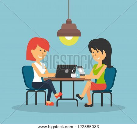 Woman work with laptop and smartphone. Woman and work, business woman, work with smartphone, work with laptop, business phone, work technology mobile, working businesswoman with device illustration