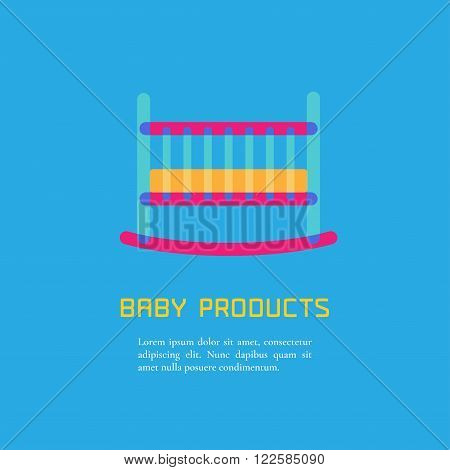 Illustration of cot made in cute bright style vector. Baby products concept. Design element logotype for a shop product or company