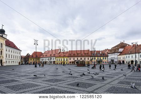 SIBIU, ROMANIA - MARCH 2016: Main square in downtown on 08th of March in Sibiu.