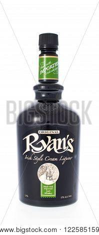 Winneconne WI - 21 February 2015: Bottle of Ryan's Irish Cream alcohol beverage