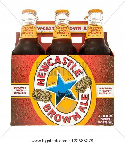 Winneconne WI -28 Oct 2015: Six pack of Newcastle brown ale beer.