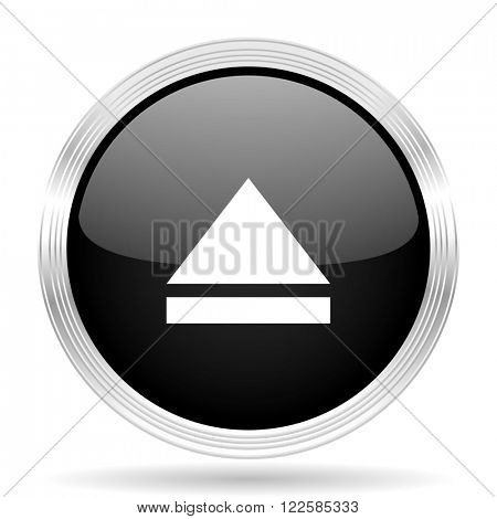 eject black metallic modern web design glossy circle icon