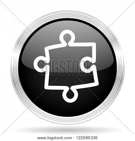 puzzle black metallic modern web design glossy circle icon