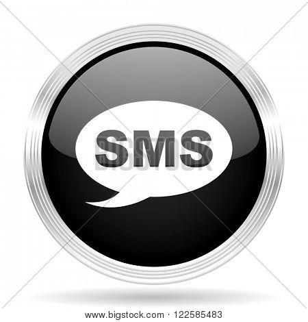 sms black metallic modern web design glossy circle icon