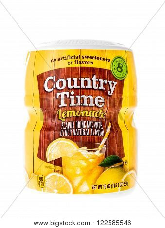 Winneconne, WI - 12 March 2015: Container of Country Time Lemonade mix for those hot summer days when a cool drink is needed to cool down.