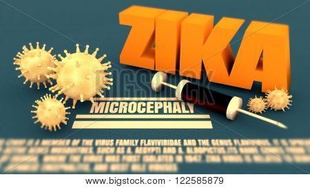 Abstract virus image on backdrop and zika text. Zika virus danger relative illustration. Medical research theme. Virus epidemic alert. Microcephaly text