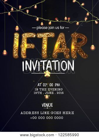 Elegant Invitation Card design decorated with golden glittering text Iftar, lights and party details.