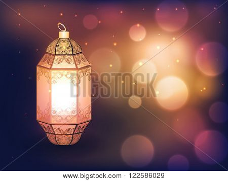 Beautiful floral design decorated, Traditional Lamp on defocused bokeh lights background