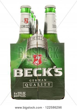 Winneconne, WI -29 Oct 2015: Six pack of Beck's beer.