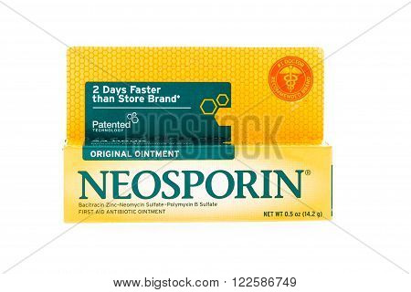 Winneconne WI - 9 February 2015: Paclage of Neosporin skin ointment used in helping heal cuts quicker.