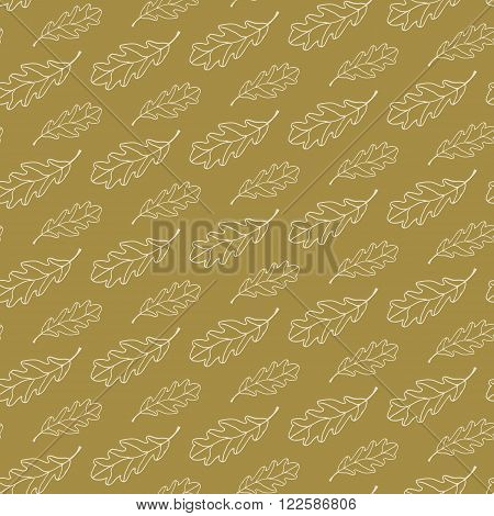 Retro style creative seamless vector pattern with hand drawn oak leaves for fabric, cards, invitations, wrapping paper, stationery and web backgrounds. Cute trendy whimsical vintage nature ornament.