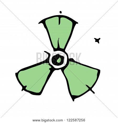Radio active symbol  hand drawn vector illustration