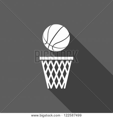 Basketball ball net Icon in flat dasing style isolated on grey background. Vector Illustration