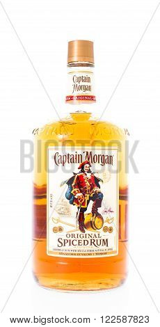 Winneconne WI - 21 February 2015: Bottle of Captain Morgan spiced rum alcohol beverage